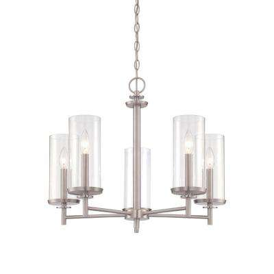 Harlowe 5-Light Satin Platinum Interior Incandescent Chandelier