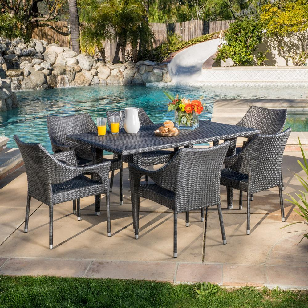 Noble House Cliff Gray 7 Piece Wicker Outdoor Dining Set