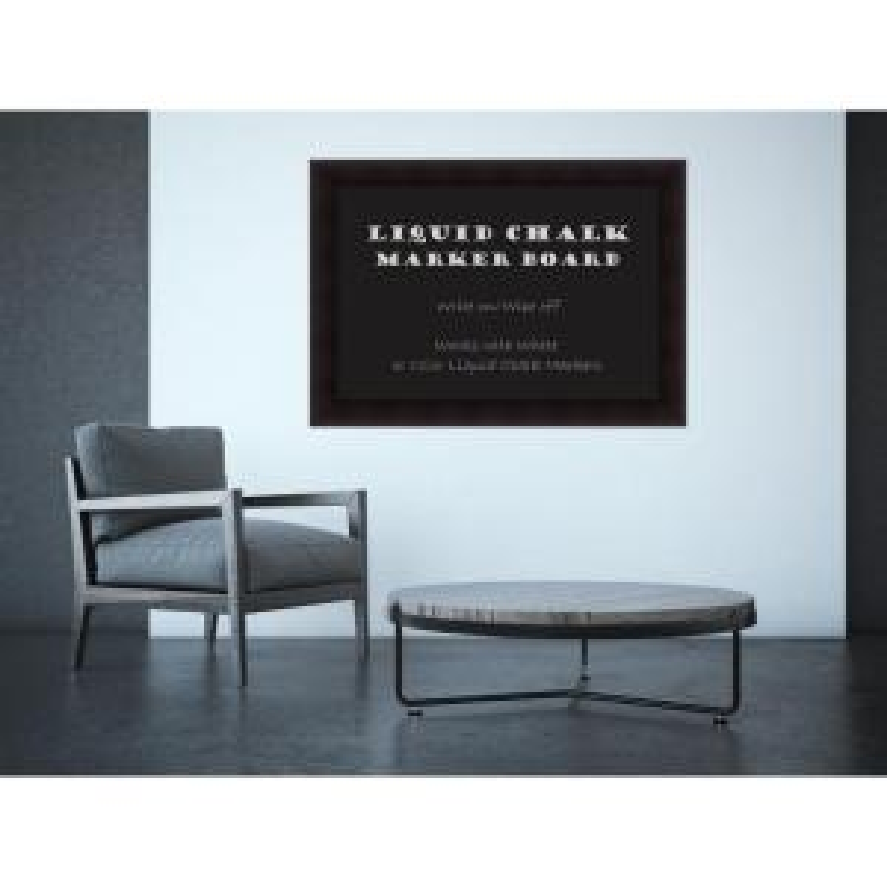 Portico Espresso Wood 42 in. W x 30 in. H Framed Liquid Chalk Marker Board