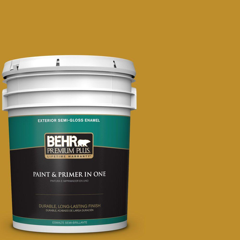 BEHR Premium Plus 5-gal. #360D-7 Brown Mustard Semi-Gloss Enamel Exterior Paint