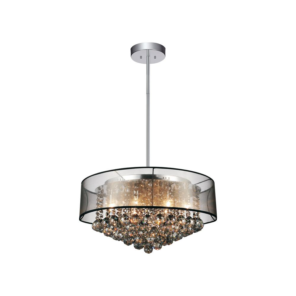 CWI Lighting Radiant 12-Light Chrome Chandelier with Black shade