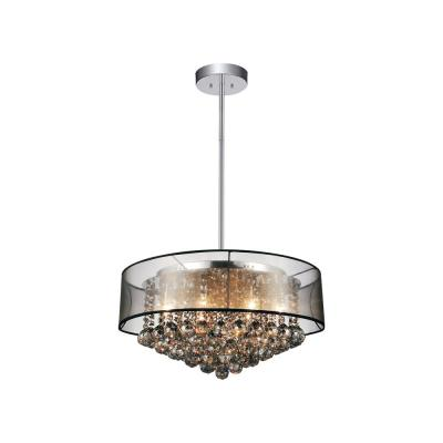 Radiant 12-Light Chrome Chandelier with Black shade