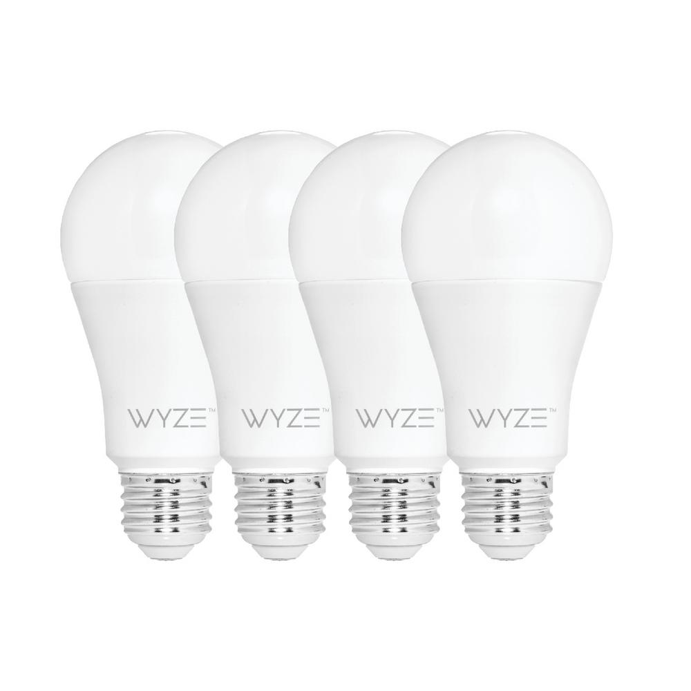 Wyze 60-Watt Equivalent White 800 Lumens A19 Dimmable Wi-Fi LED Smart Light Bulb Tunable  Alexa and Google Assistant (4-Bulb)