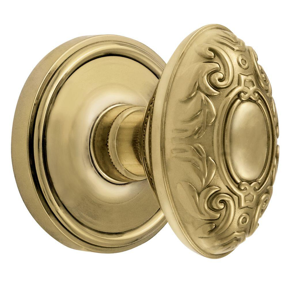 Grandeur Georgetown Rosette Polished Brass with Privacy Grande Victorian Knob