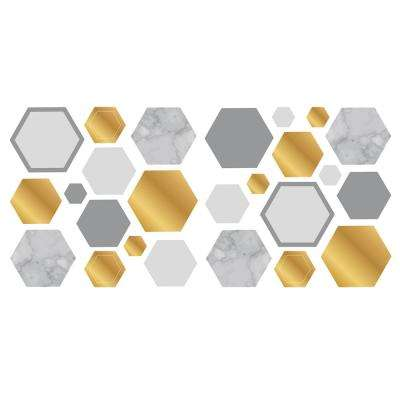 Marble Gold Geo Hexagon Wall Sticker Wall Decals (Set of 2)