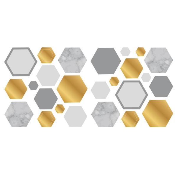Fun4walls Marble Gold Geo Hexagon Wall