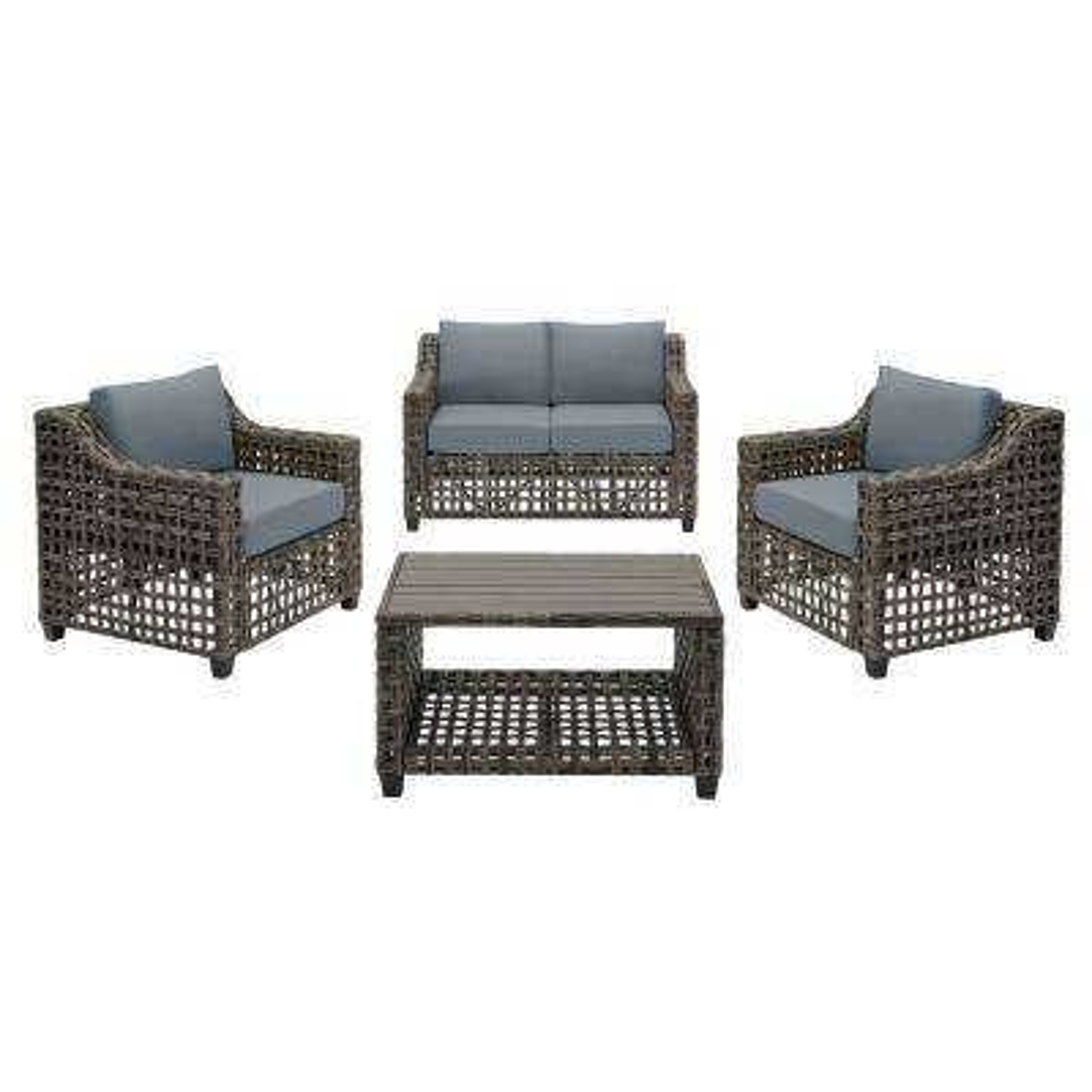Briar Ridge 4-Piece Brown Wicker Outdoor Patio Conversation Deep Seating Set with Sunbrella Denim Blue Cushions