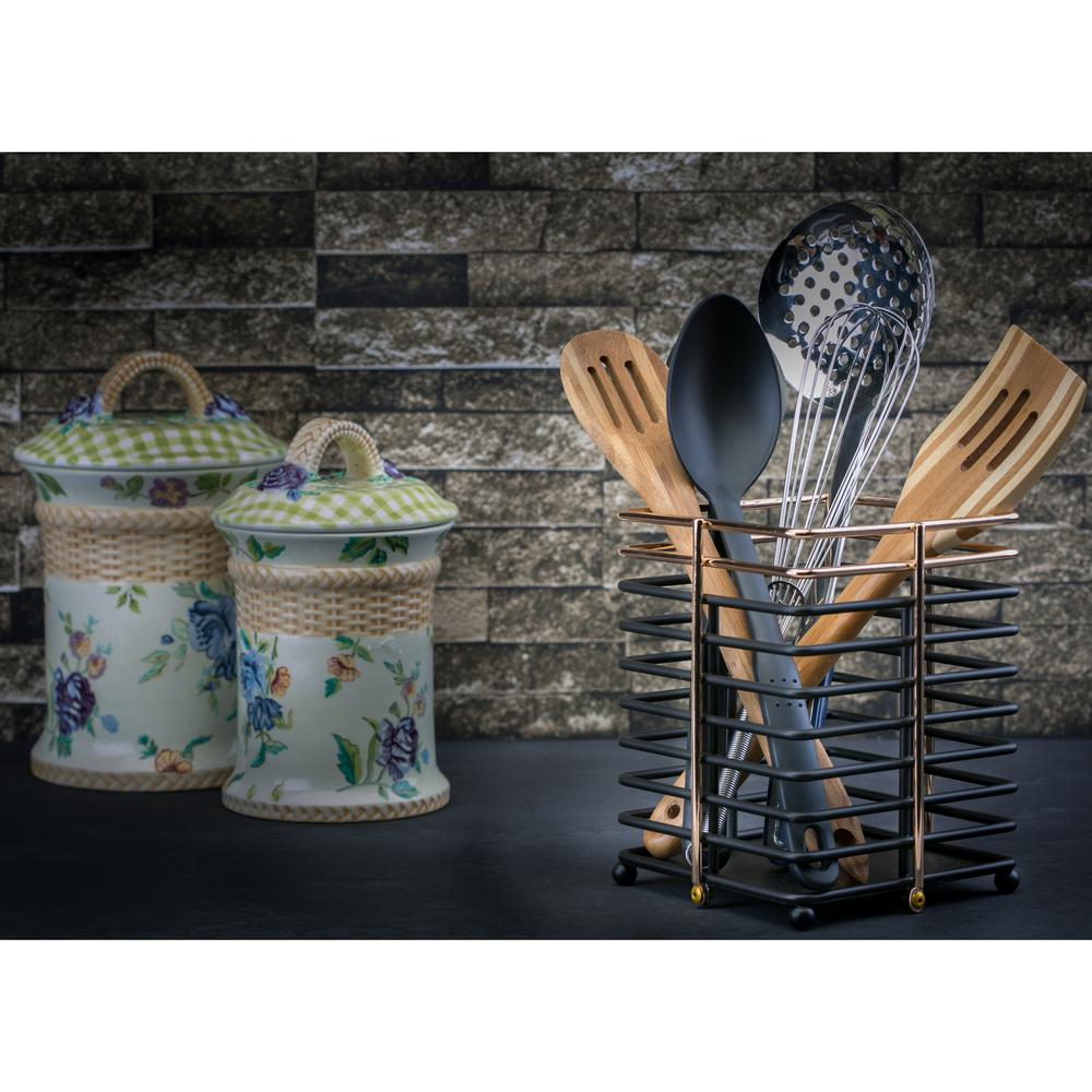 Home Basics Wire Cutlery Holder In Black Ch44627 The