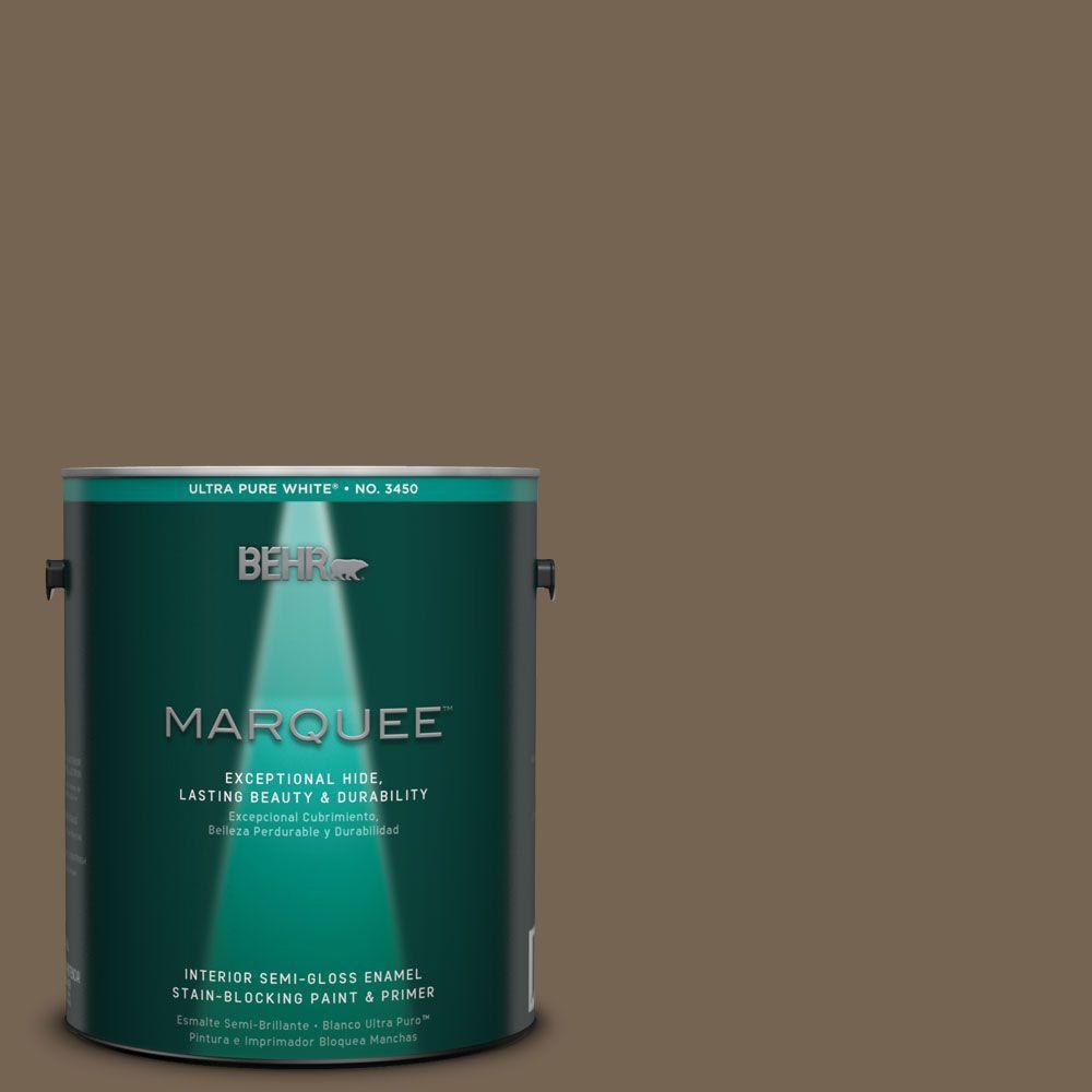 BEHR MARQUEE 1-gal. #HDC-SM14-4 Tan Bark Trail Semi-Gloss Enamel Interior Paint
