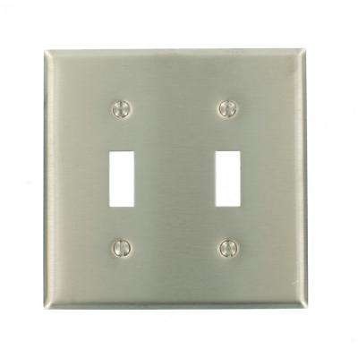 2-Gang 2-Toggle Standard Size Stainless Steel Wall Plate, Stainless Steel