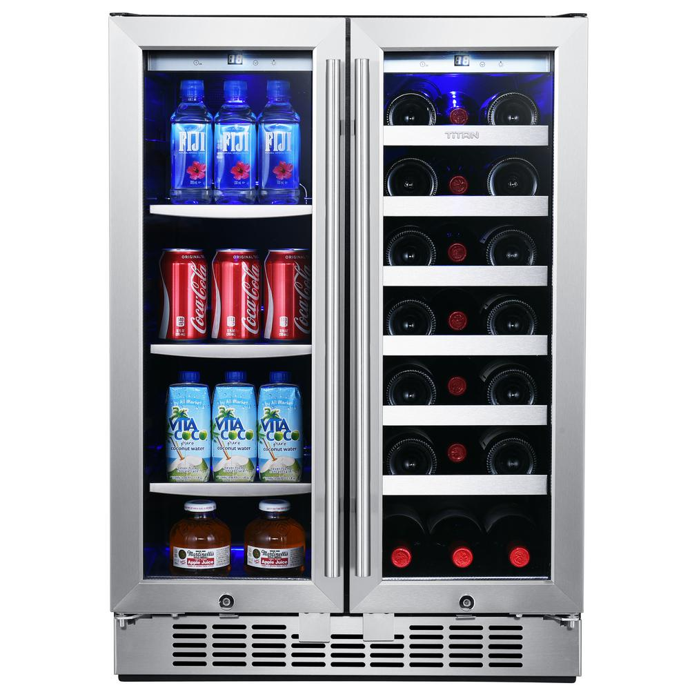 TITAN 24 in. 60-Can and 21-Bottle French Door Stainless Steel Dual Zone Built-In Beverage and Wine Cooler