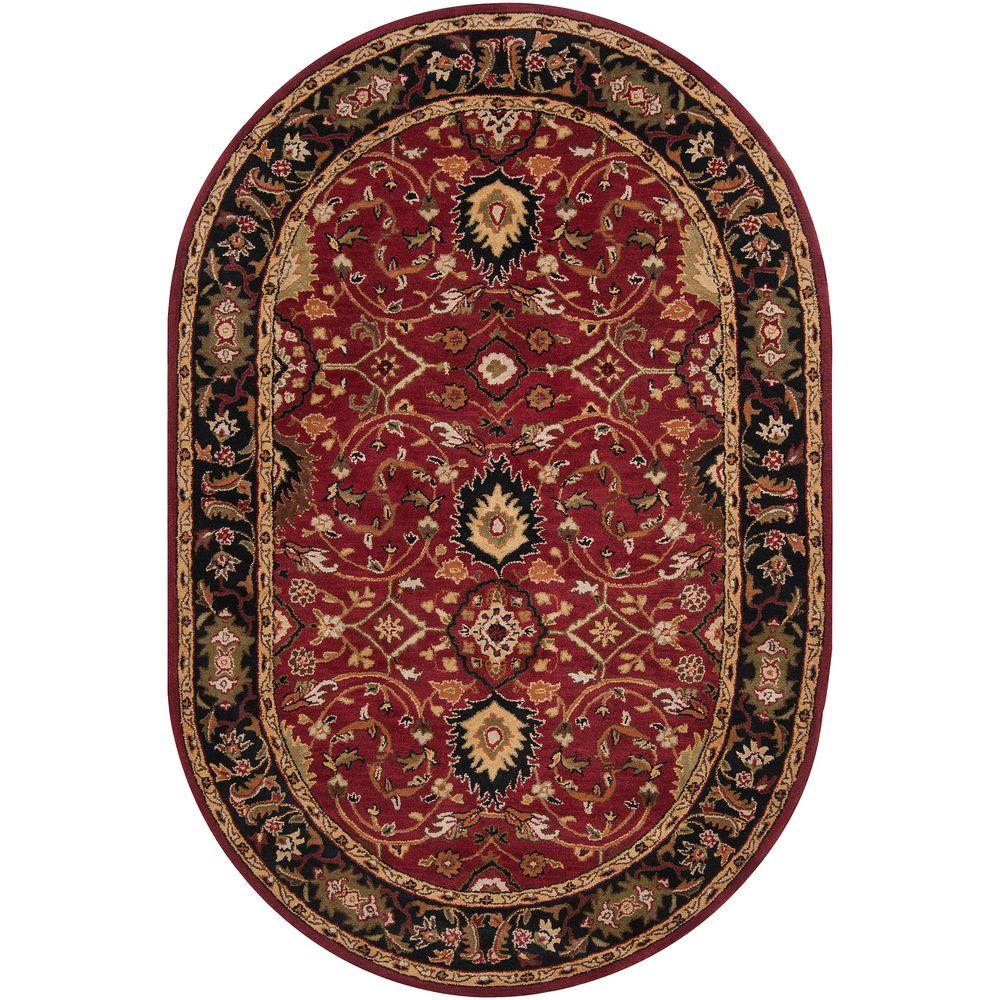 John Red 8 ft. x 10 ft. Oval Area Rug