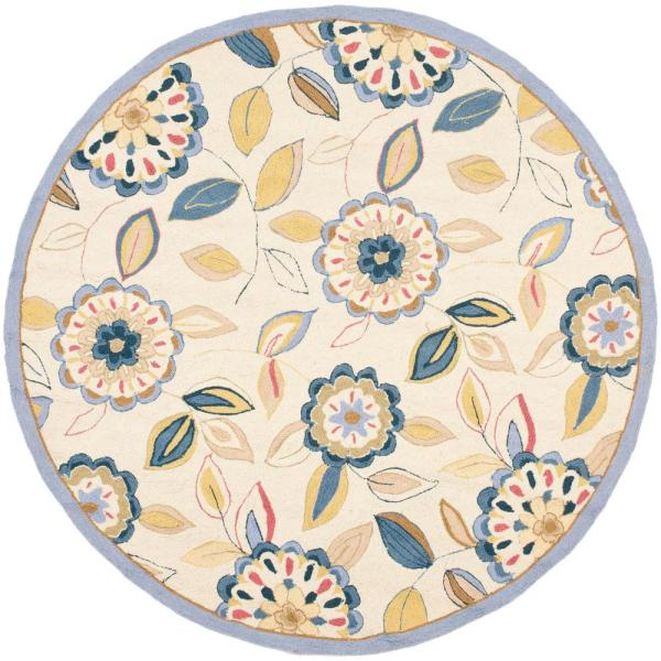 Safavieh Chelsea Ivory Blue 6 Ft X 6 Ft Round Area Rug Hk179a 5r The Home Depot