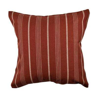 Burgandy Striped Jacquard Throw Pillow