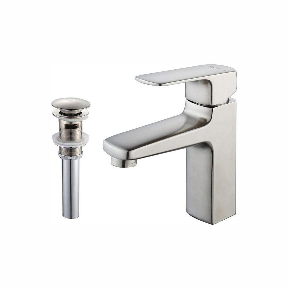 KRAUS Virtus Single Hole Single-Handle High-Arc Vessel Bathroom Faucet with Pop-Up Drain and Overflow in Brushed Nickel