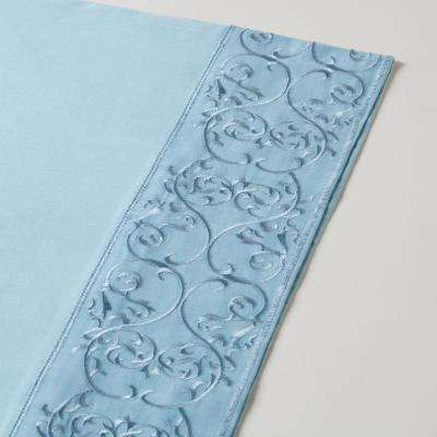 4 piece Spa-Blue 400 Thread Count Embroidered Cotton Andrea Cal-King Sheet Set