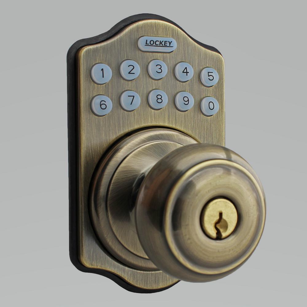 E-Digital E-930 Antique Brass Entry Keypad Single Cylinder Electronic Door Knob with Latch Lock