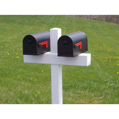 54 in. x 32 in. x 5 in. Vinyl Double Mailbox Post, White