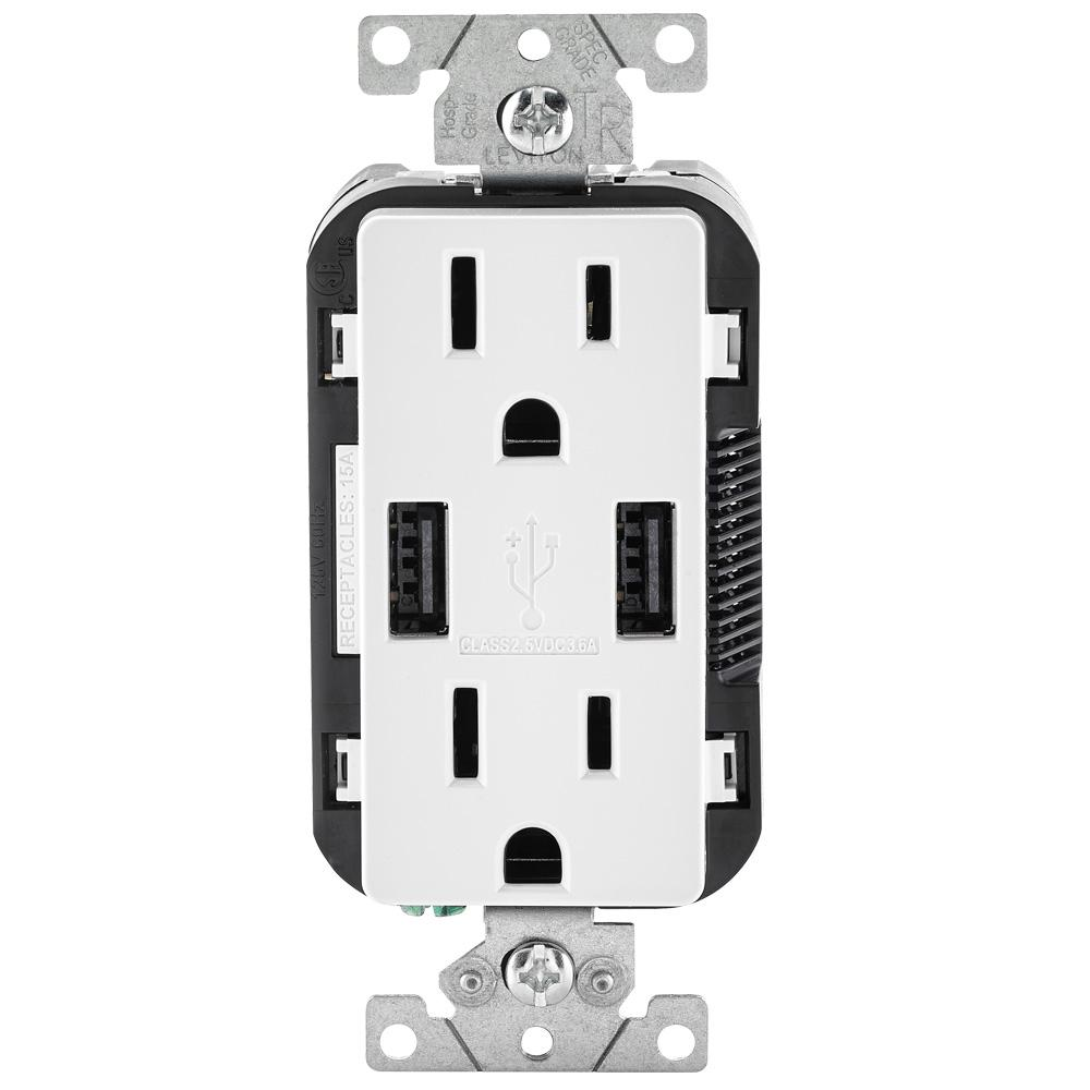 Leviton Leviton 3.6A USB Dual Type A In-Wall Charger with 15 Amp Tamper-Resistant Outlets, White