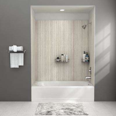 Passage 32-in. x 60-in. 4-Piece Glue-Up Alcove Bath Wall in Pewter Travertine