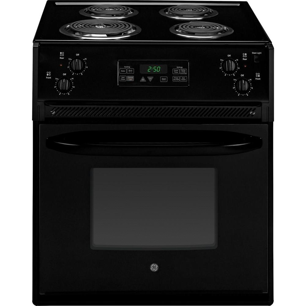 GE 27 in. 3.0 cu. ft. Drop-In Electric Range with Self-Cleaning Oven in Black