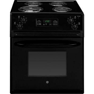 27 in. 3.0 cu. ft. Drop-In Electric Range with Self-Cleaning Oven in Black