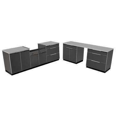 Aluminum Slate 9-Piece 184x36x24 in. Outdoor Kitchen Cabinet Set