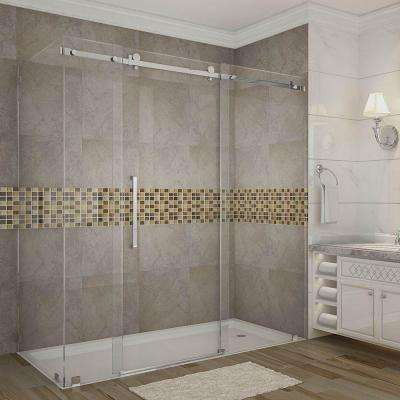 Moselle 72 in. x 33.4375 in. x 75 in. Completely Frameless Sliding Shower Enclosure in Stainless Steel