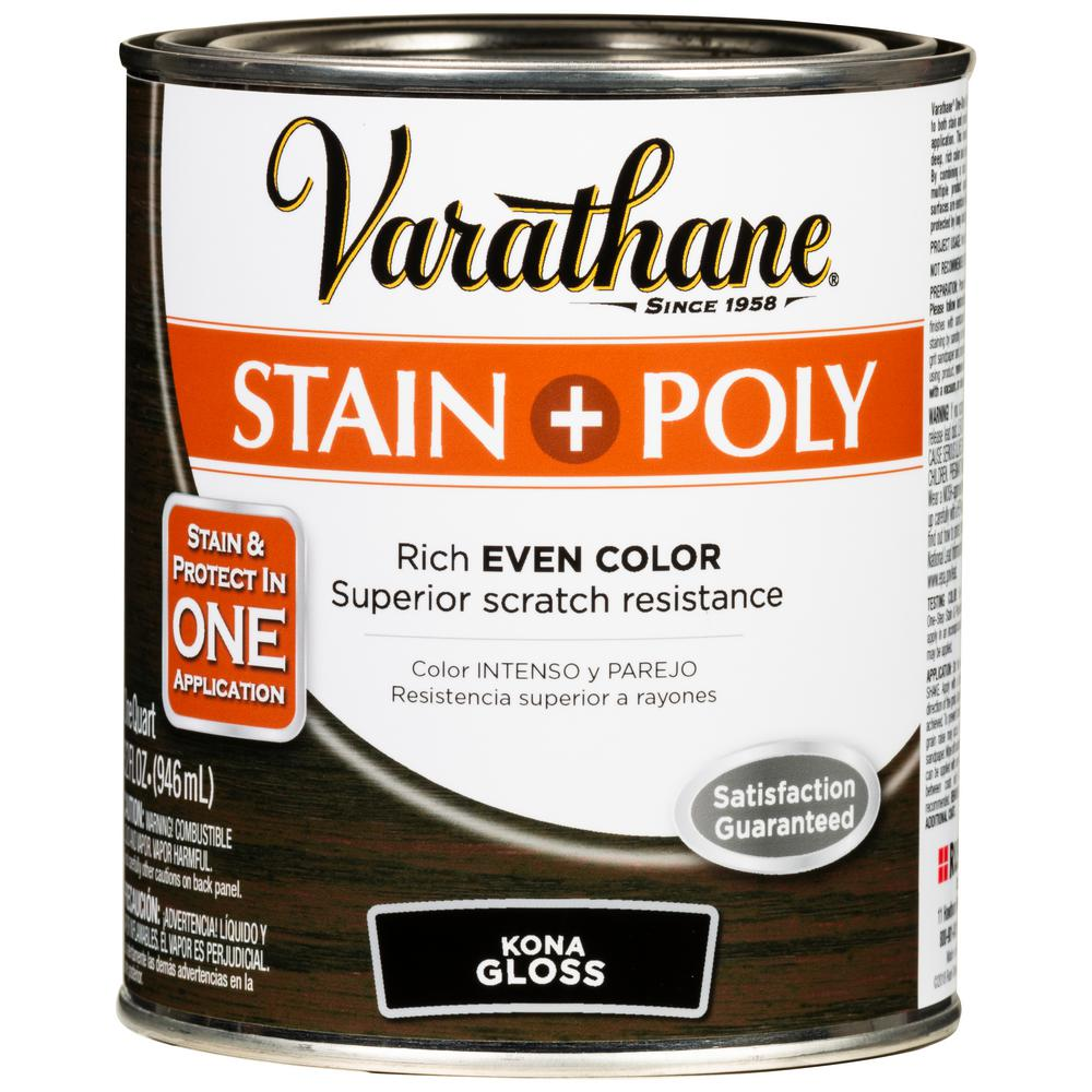 Varathane 1 Qt. Kona 450 Gloss Oil-Based Interior Wood Stain and Polyurethane (2-Pack)
