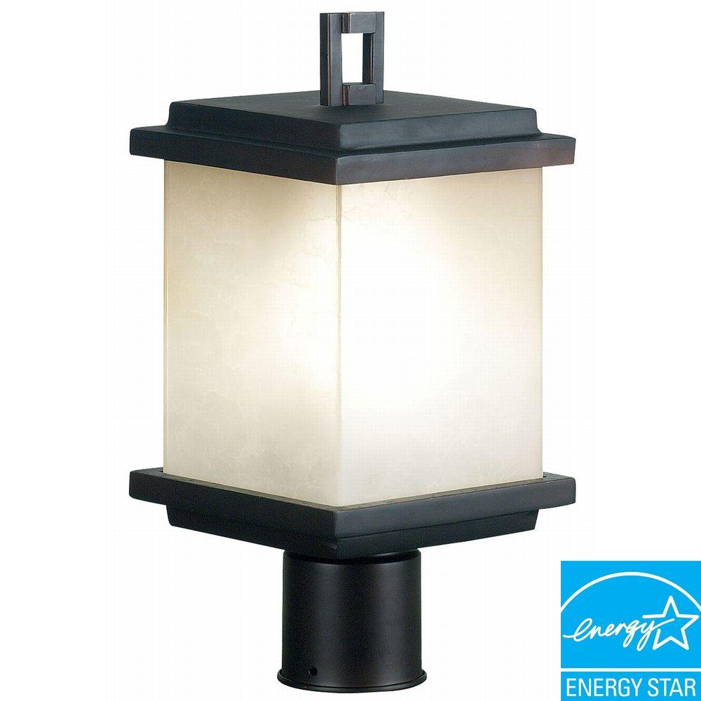 Kenroy Home Plateau 1-Light 14 in. Oil Rubbed Bronze Post Lantern-DISCONTINUED