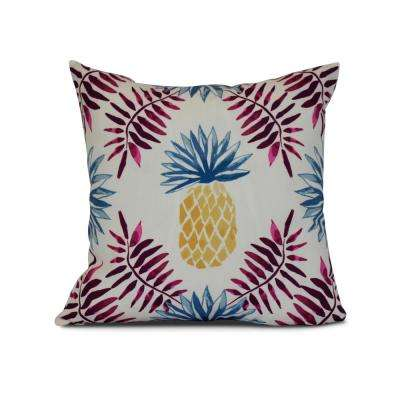 16 in. Pineapple and Spike Geometric Print Pillow in Purple