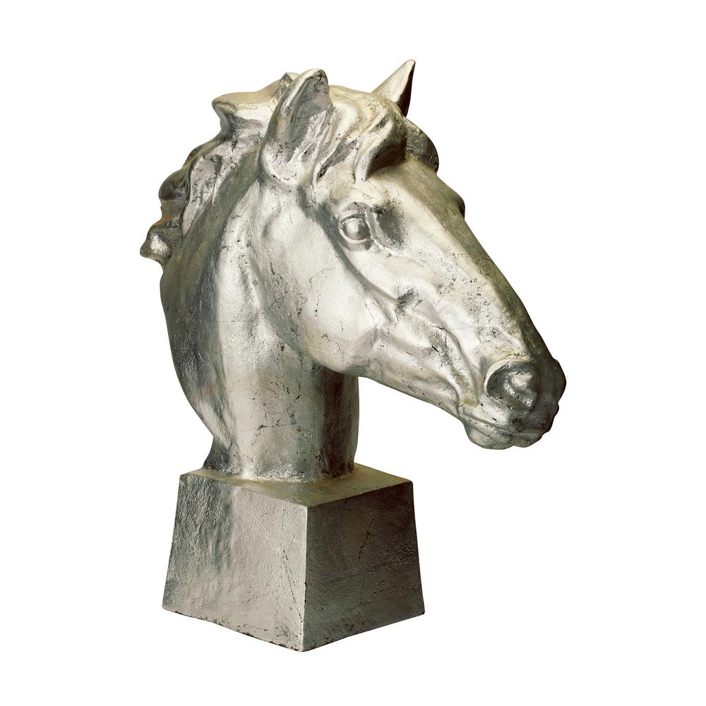 Gilded Age Horse Head Resin Statue, Distressed Silver
