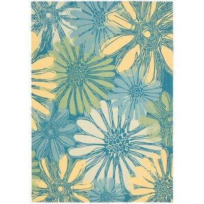 Home and Garden Daisies Blue 5 ft. x 7 ft. Indoor/Outdoor Area Rug