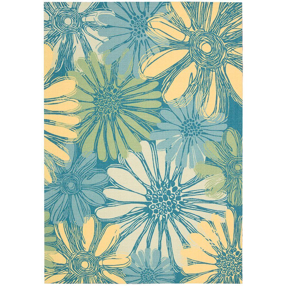 Nourison Home and Garden Daisies Blue 10 ft. x 13 ft. Indoor/Outdoor ...