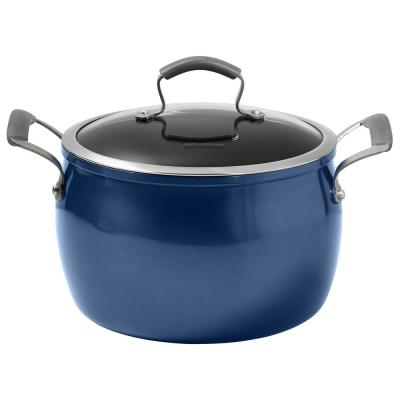 Translucent 8 qt. Round Hard-Anodized Aluminum Nonstick Dutch Oven in Blue with Glass Lid