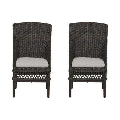 Woodbury Dark Brown Wicker Outdoor Patio Dining Chair with CushionGuard Stone Gray Cushions (2-Pack)