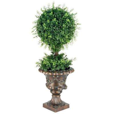 36 in. Mini Tea Leaf 1 Ball Topiary in Black and Gold Urn