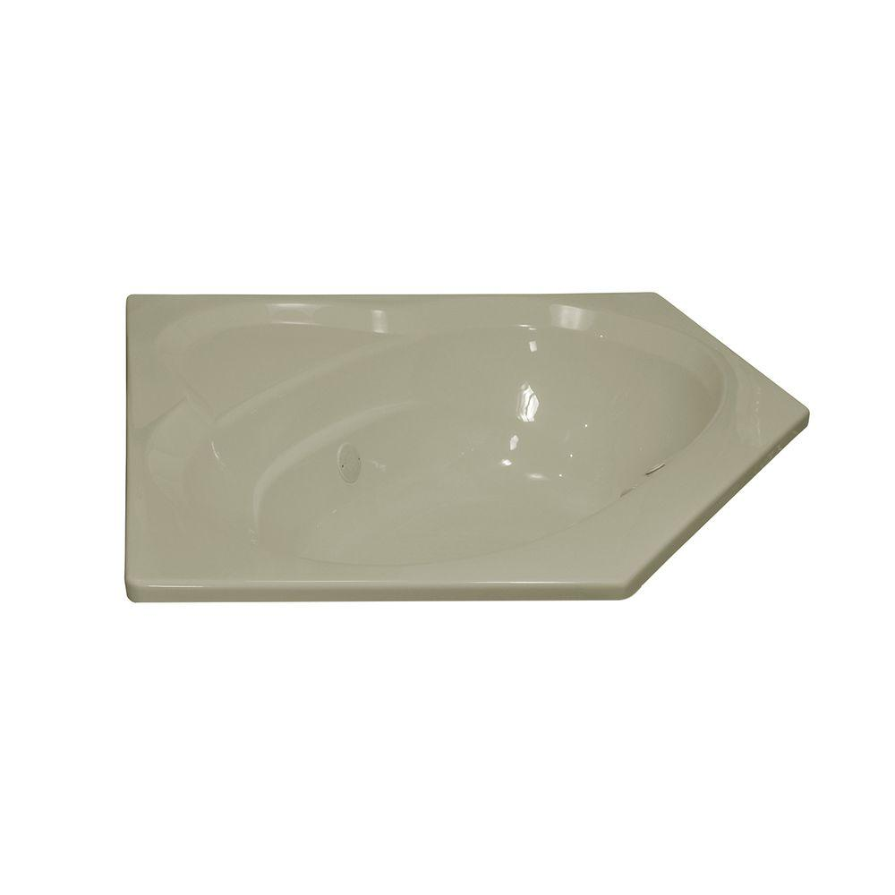 Lyons Industries Classic 5 ft. Corner Front Drain Heated Soaking Tub in Biscuit