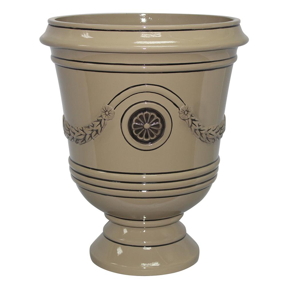 Southern Patio Porter 15.50 in. x 18 in. Chinchilla Resin Composite Urn