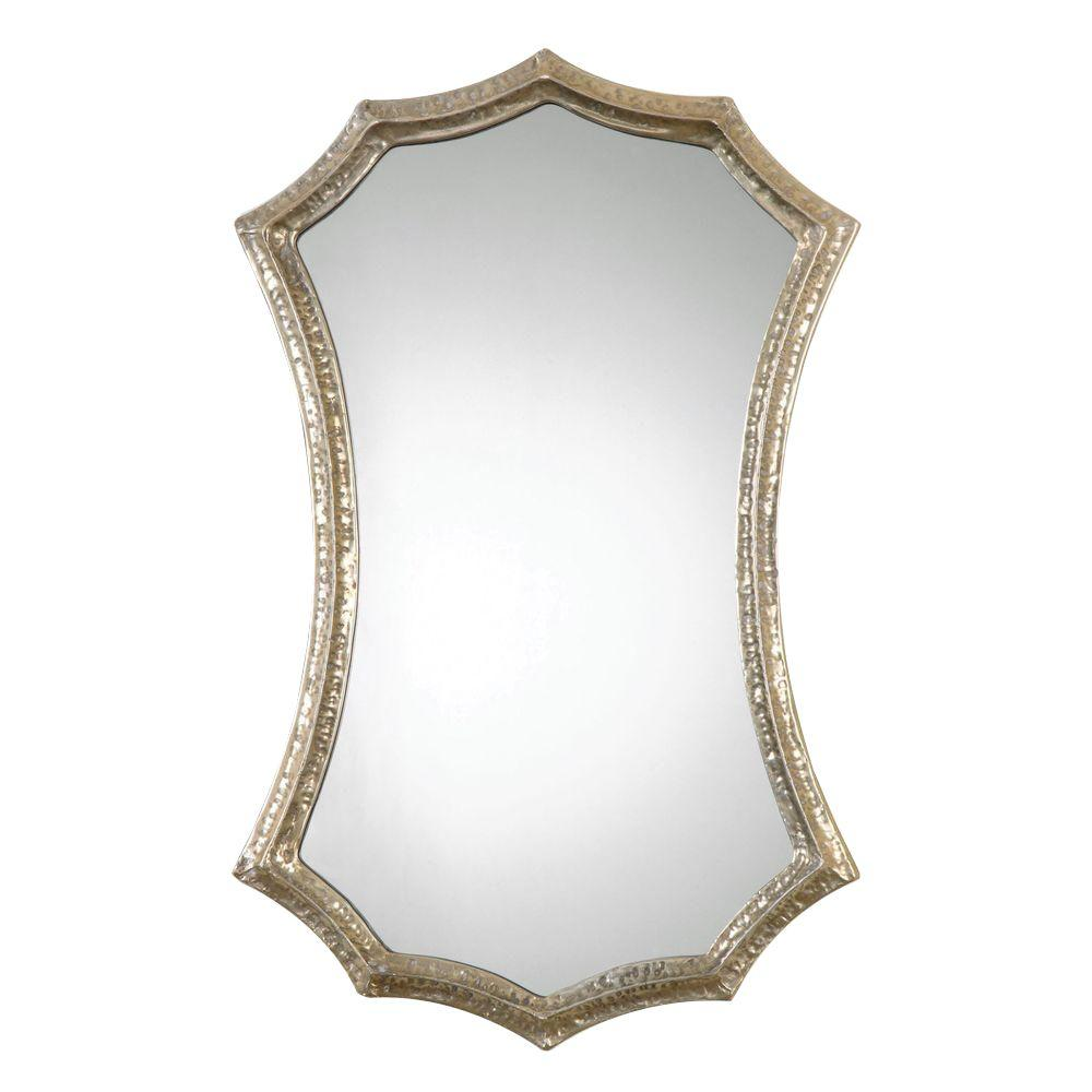 Home Decorators Collection 29.75 in. x 18.75 in. Silver-Champagne Ornate Framed Vanity Mirror