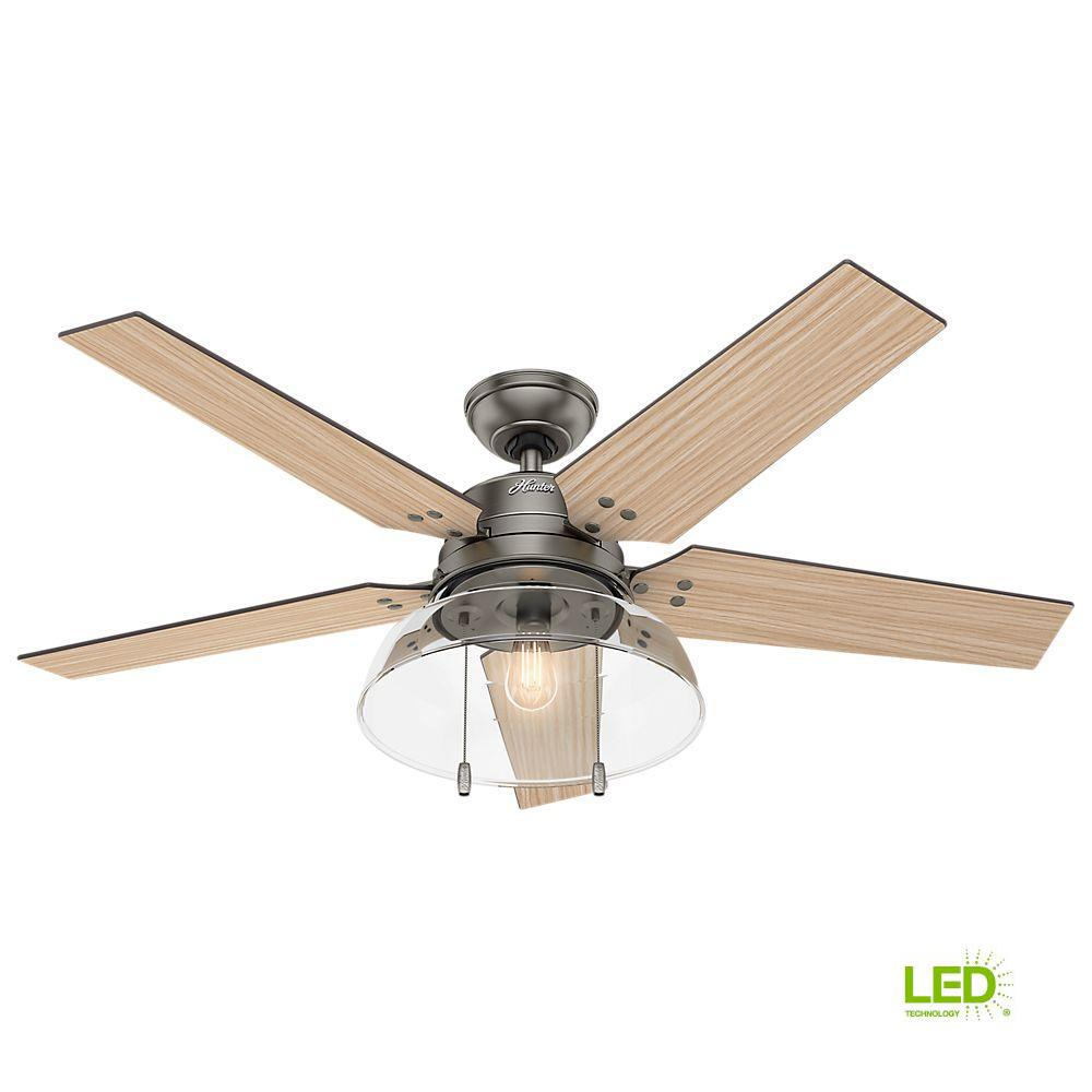 Hunter Lindbeck 52 In Led Indoor Outdoor Brushed Slate Ceiling Fan