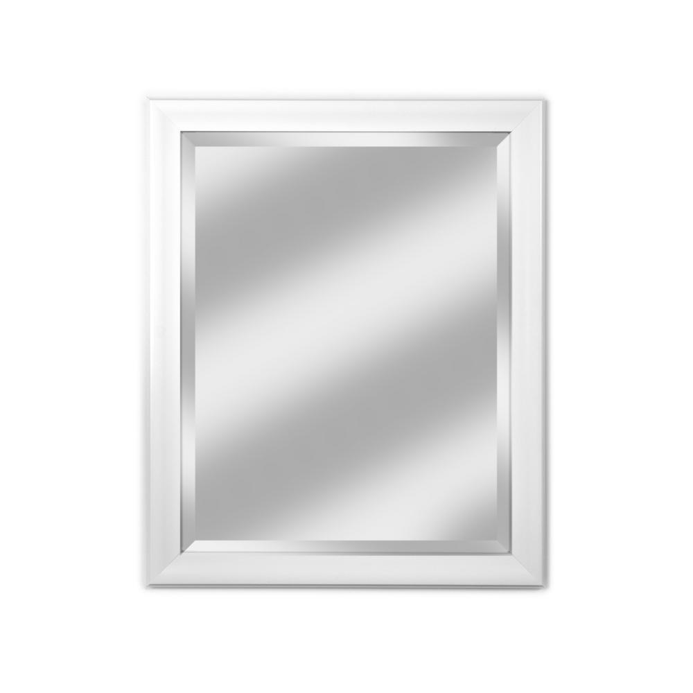 Medium Rectangle White Beveled Glass Modern Mirror (34 in. H x 28 in. W)