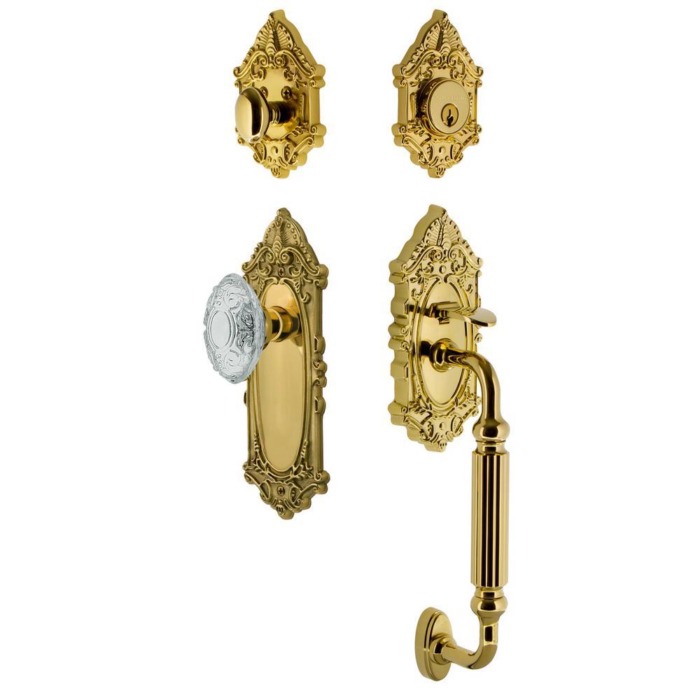 Victorian Plate 2-3/4 in. Backset Lifetime Brass F Grip Handleset Crystal Victorian Door Knob