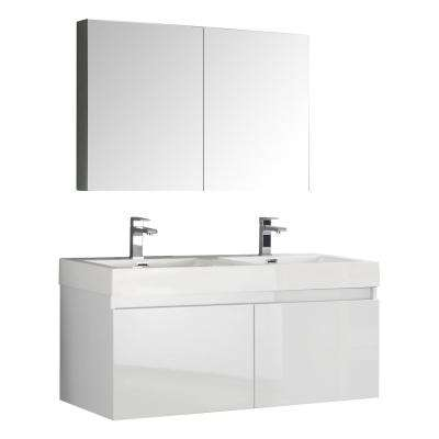Mezzo 48 in. Vanity in White with Acrylic Vanity Top in White with White Basins and Mirrored Medicine Cabinet