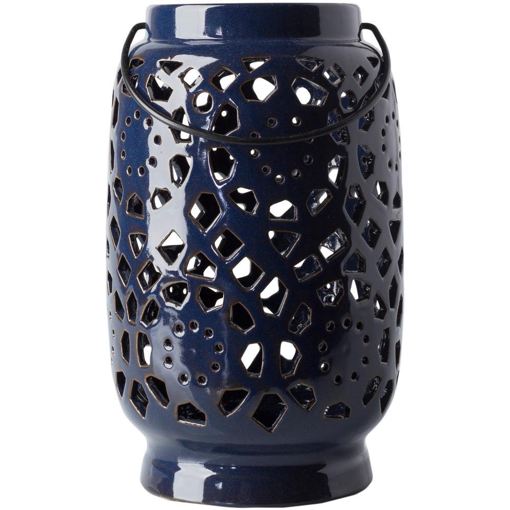 Kimba 11 in. Navy Ceramic Lantern