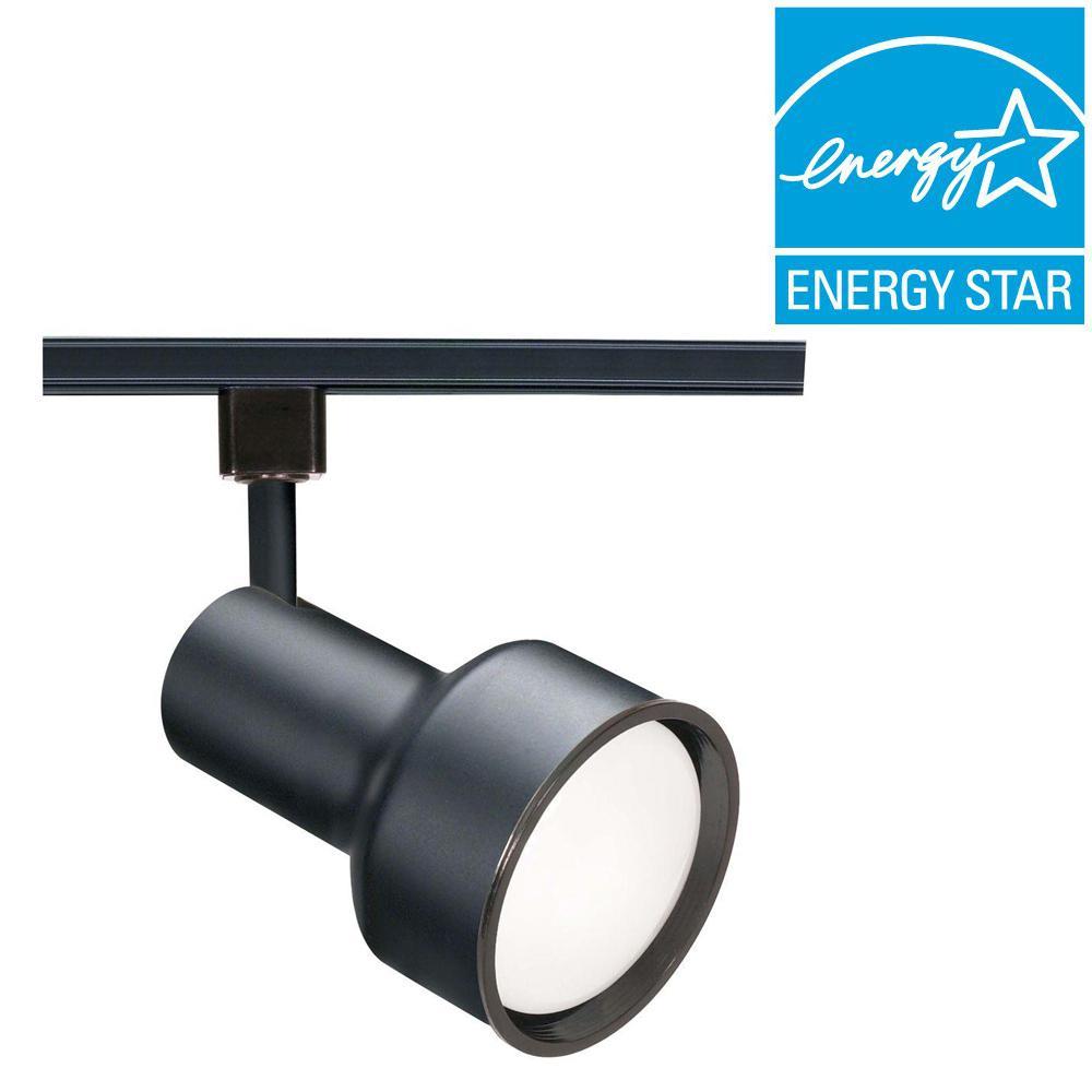 Glomar 1-Light CFL R30 Black Step Cylinder Track Lighting Head