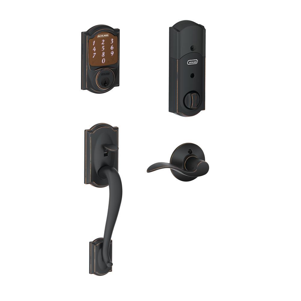 Camelot Aged Bronze Sense Smart Door Lock with Right Handed Accent Lever Door Handleset