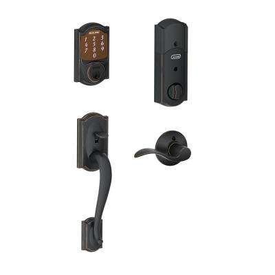 Sense Aged Bronze Camelot Smart Lock and Handleset with left handed Accent Lever