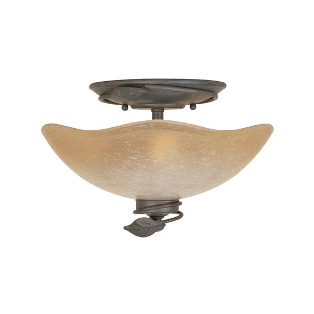Belle Rose Collection 2-Light Old Bronze Ceiling Semi-Flush Mount Light