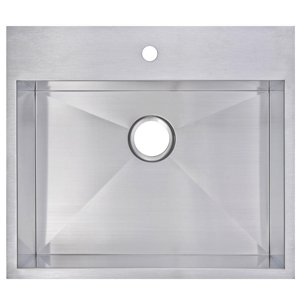 Drop-In Zero Radius Stainless Steel 25 in. 1-Hole Single Bowl Kitchen Sink in Satin